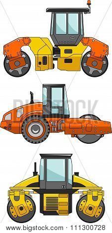 Compactors. Heavy construction machine. Vector illustration