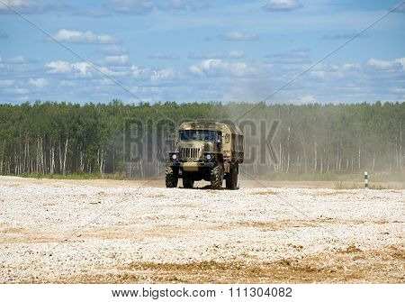 Military truck Ural 4320 on the landfill