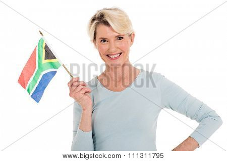 happy senior woman holding south african flag