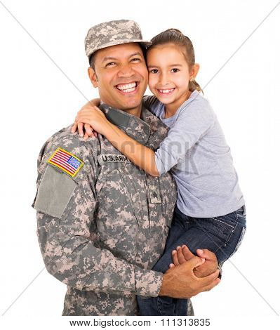 portrait of american military father carrying little daughter