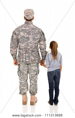 rear view of military man and daughter on white background