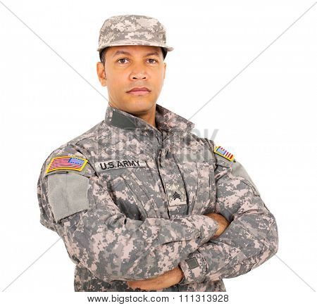 portrait of american military soldier with arms crossed