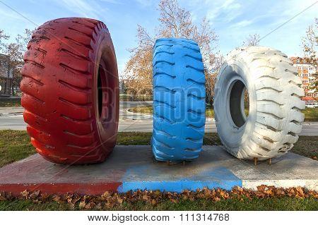 Colorful Dumper Truck Tires 1