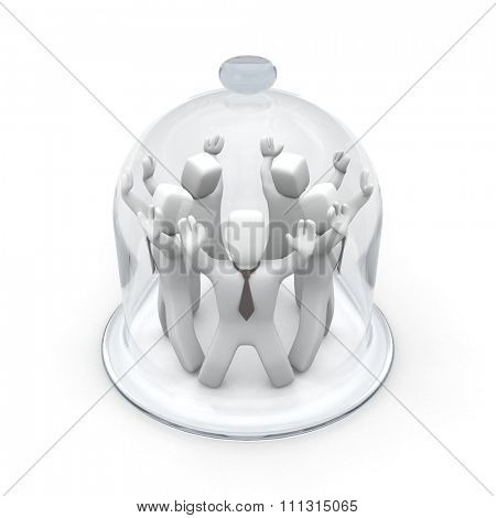 Group of 3D people covered glass case