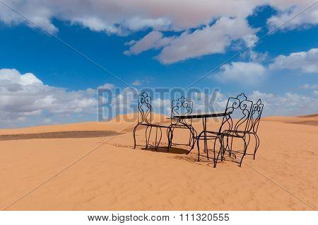 Table for four in desert.