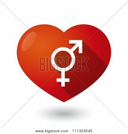 Isolated Red Heart With A Transgender Symbol