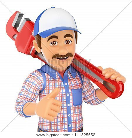 3D Plumber With A Pipe Wrench