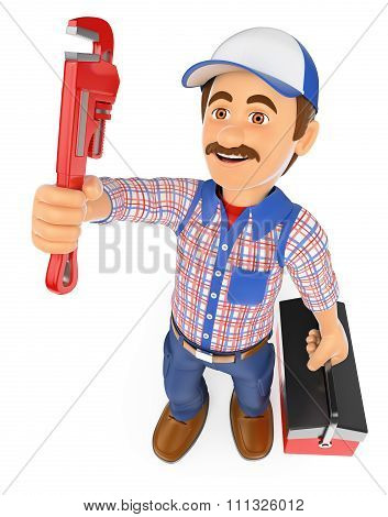 3D Plumber With A Pipe Wrench And A Toolbox