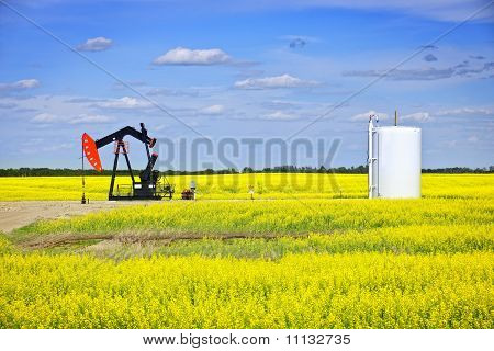 Oil pumpjack or nodding horse pumping unit in Saskatchewan prairies Canada poster