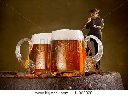 humorous image with drinker and two beers poster