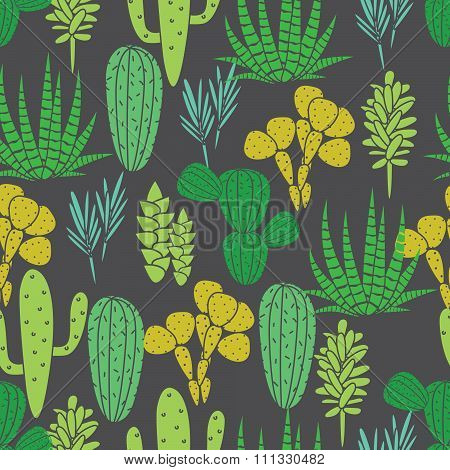 Succulents cacti plant vector seamless pattern. Botanical black and green desert flora fabric print. Home garden cartoon cactuses for wallpaper, curtain, tablecloth. poster