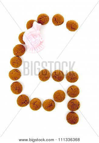 Ginger Nuts, Pepernoten, In The Shape Of Letter G Isolated On White Background