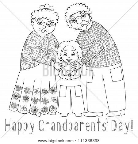 Happy grandparents day card. Poster with grandmother, grandfather and their grandson, coloring book