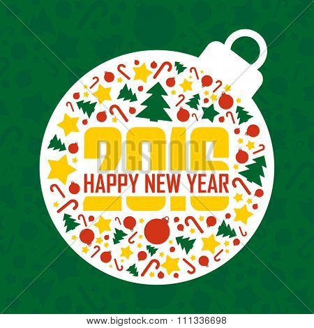 2016 Happy New Year green greeting card.Vector illustration.