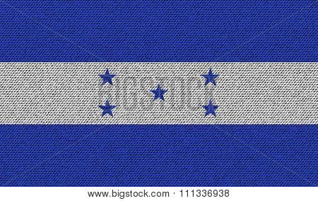 Flags Honduras On Denim Texture.