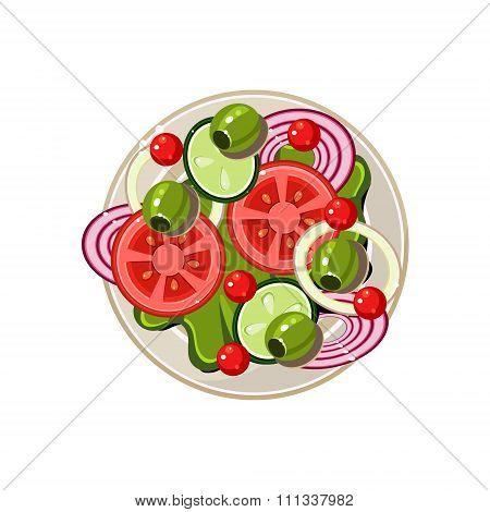 Salad of Sliced Vegetables Served Food. Vector Illustration