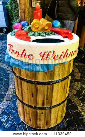 Decorated garbage can on Christmas market in Bonn, Germany