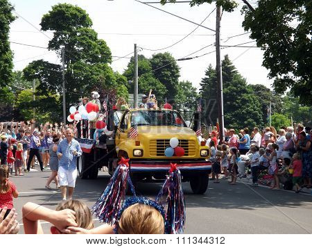 Yellow Truck in Fourth of July Parade