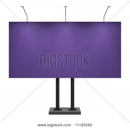 Blank Violet Board for Advertisement, Isolated on White