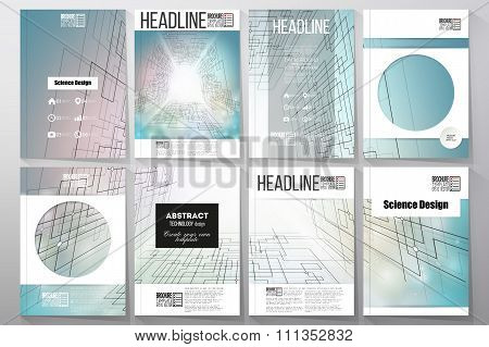 Set of business templates for brochure, flyer or booklet. Abstract vector background, digital techno