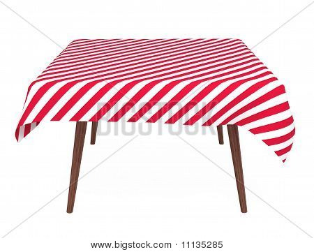 Table with Striped Tablecloth, Isolated on White