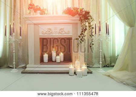 Elegant Fireplace With Candles