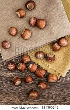 Top View Of Hazelnuts With Napkins