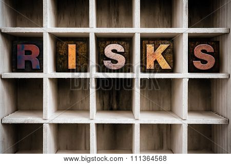 Risks Concept Wooden Letterpress Type In Drawer
