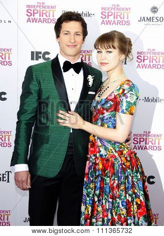 Joanna Newsom and Andy Samberg at the 2013 Film Independent Spirit Awards held at the Santa Monica Beach in Los Angeles, California, United States on February 23, 2013.