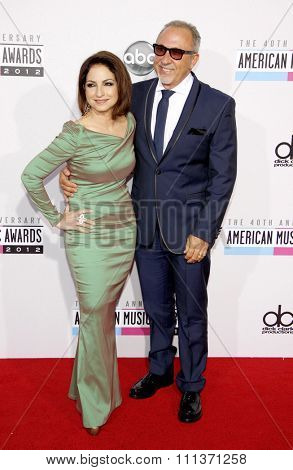 Gloria and Emilio Estefan at the 40th Anniversary American Music Awards held at the Nokia Theatre L.A. Live in Los Angeles, California, United States on November 18, 2012.