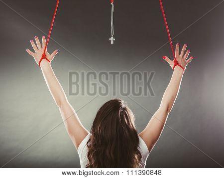 Tied Woman Forced To Worship. Fake Faith Religion.