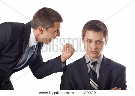 Young boss impose his opinion by fist poster