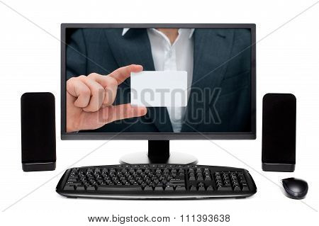 Businessman on desktop computer Monitor Showing card with empty space for your text