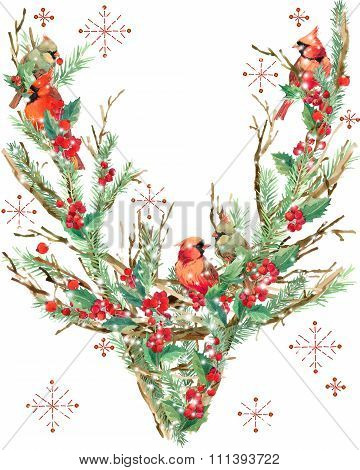 watercolor Christmas reindeer. T-shirt graphics. watercolor winter holidays background. illustration
