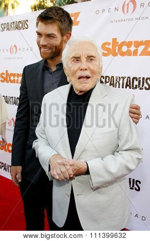 Liam McIntyre and Kirk Douglas at the Starz Celebrates Kirk Douglas held at the Academy of Television Arts & Sciences Goldenson Theater in Los Angeles, California, United States on May 31, 2012.