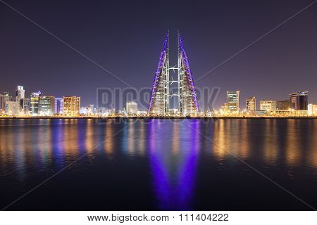 Skyline Of Manama At Night, Bahrain