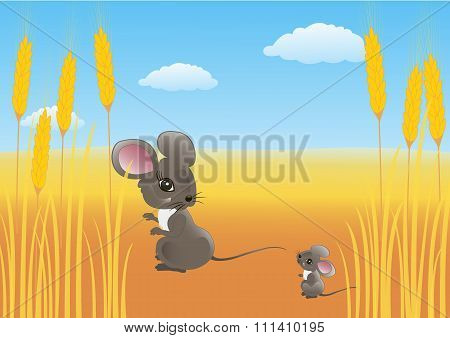 Mouse in a wheat field