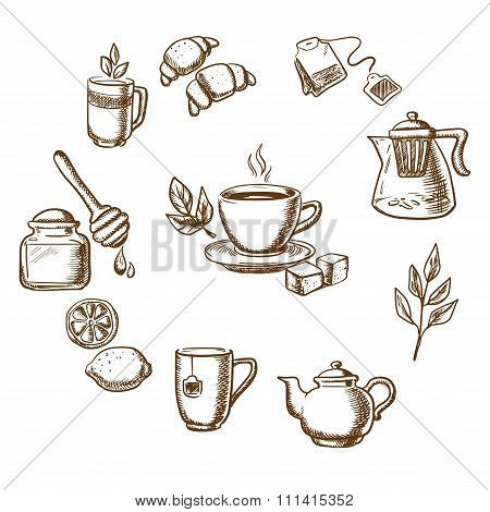 Herbal tea, dessert and bakery sketch icons