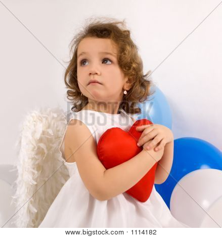 A Littlel Angel With Red Heart