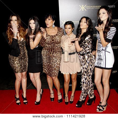 Khloe Kardashian, Kylie Jenner, Kris Jenner, Kourtney Kardashian, Kim Kardashian and Kendall Jenner at the Kardashian Kollection Launch Party held at the Colony in Hollywood on August 17, 2011.