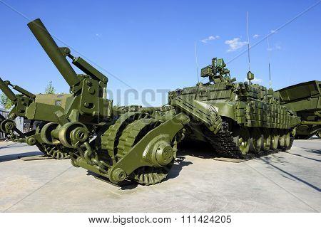 Demining military vehicle