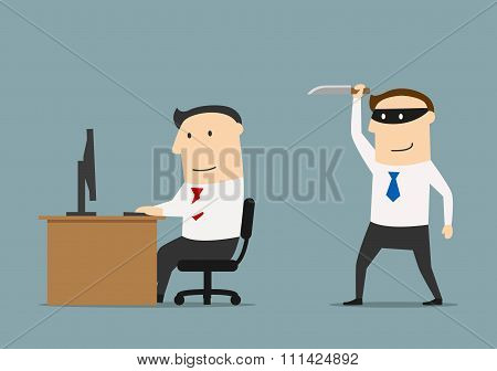 Competitor sneaks a knife to the businessman