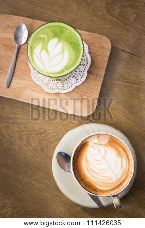 Hot Drinks With Latte Coffee Matcha Green Tea On Wooden Table