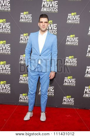 Zachary Quinto at the 2013 MTV Movie Awards held at the Sony Pictures Studios in Los Angeles, United States, 140413.