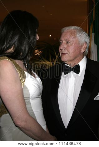 May 6, 2005 - Honoree Angelica Huston and honoree Merv Griffin attend at National University of Ireland Honorary Degree Conferring Ceremony at the Beverly Hilton Hotel in Beverly Hills, Los Angeles.