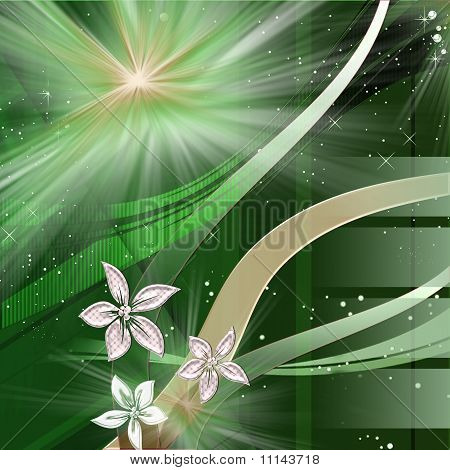 space flowers in green