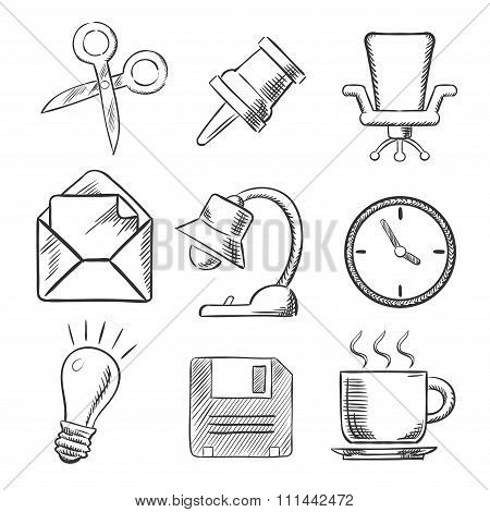 Office and business sketched icons