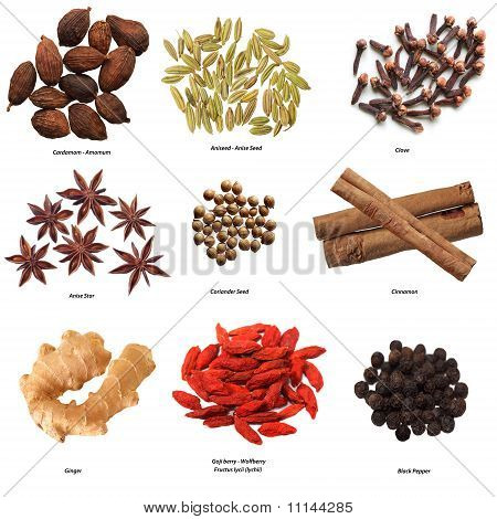 Set of nine spices isolated on white poster