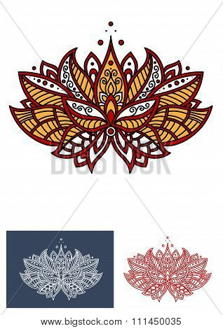 Turkish flower with paisley ornament