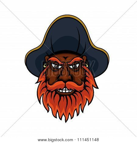 Red bearded cartoon pirate captain